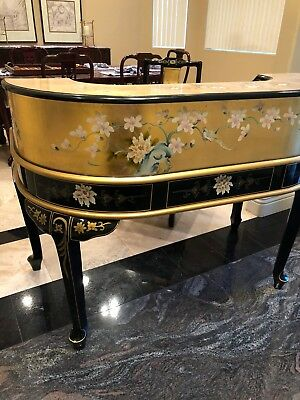 Antique Gold Leaf, Hand-Painted Chinese Desk & Chair