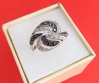 9ct White Gold- Black & H Colour Diamond Ring With Valuation Certificate $1650.