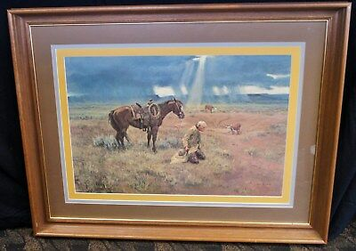 Joe Beeler Thanks For The Rain Signed & Numbered Framed American West A1521