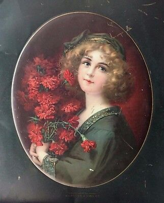 Carnation Girl Advertising Sign Compliments Of The Season Kersten & Smiley 1908