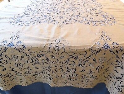 Vintage Cotton Quaker Lace Tablecloth Buttonhole 64x82 Rectangle Repair