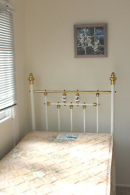 Antique Single brass and enamel bed with posture mattress and base