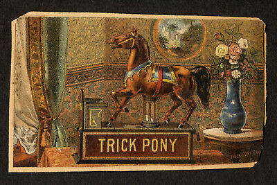 19th C Trade Card, Trick Pony Mechanical Bank