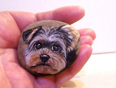 Yorkie original hand painted  on a river rock stone dog gift miniature portrait