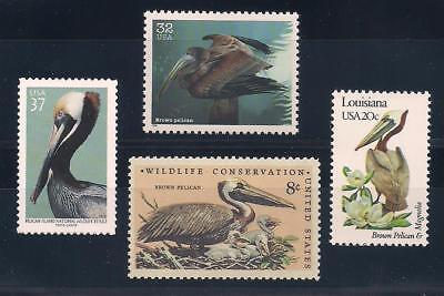 Brown Pelican - Set Of 4 U.s. Postage Stamps - Mint Condition