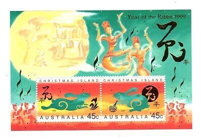 1999 CHRISTMAS ISLAND Chinese New Year of the Rabbit Minisheet MNH