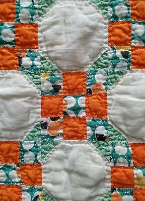 """Quilt 1930s feedsack fabric doll bear vintage 9 patch hand stitched 18x26"""" piece"""