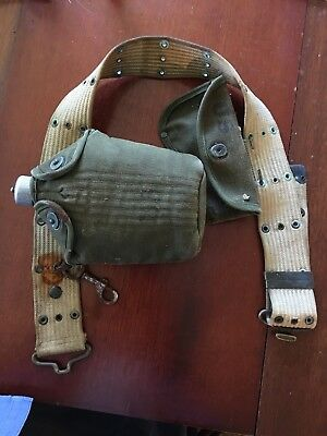 Original WW1 US Army Canteen Holder & Hatchet Sheath On belt