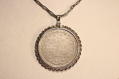 Antique Solid Silver  Men's Ladies  Pendant With Large Ottoman Coin And Chain