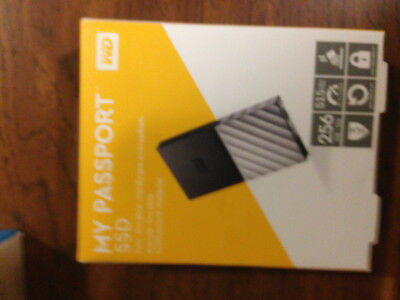 New WD My Passport 256 GB Portable External Solid State SSD USB Drive
