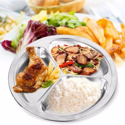22/24/26cm Dia 3 Stainless Steel Sections Round Divided Dish Snack Dinner Plate