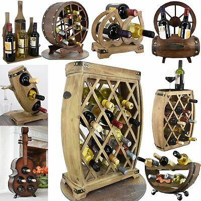 Hand Made Natural Wooden Freestanding Wine Rack Bottle Holder Display Storage