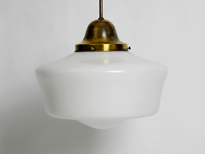 Large 1940's Art Deco industrial opal glass brass ceiling lamp with long pole
