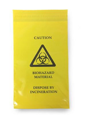100 x Click Medical Self Seal Bio Hazard Material Clinical Waste Bag First Aid