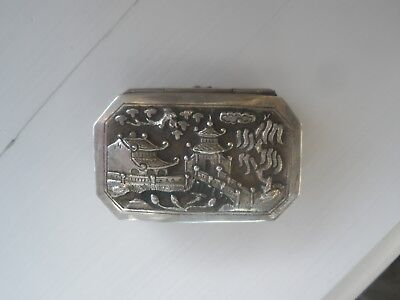 Chinese Silver Engraved Small Pill Box