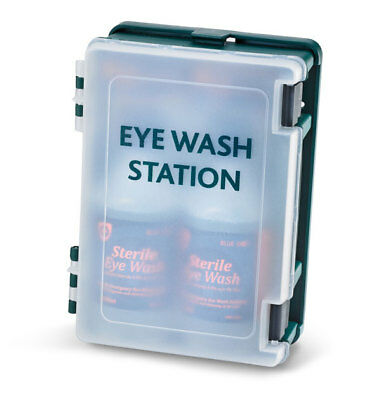 1 x Click Medical First Aid Eye Wash Station 2 x 500ml Solution Bottles Bandages