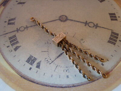 POCKET WATCH CHAIN FOB VICTORIAN 1890s ANTIQUE 12CT ROSE GOLD FILLED TASSEL FOB