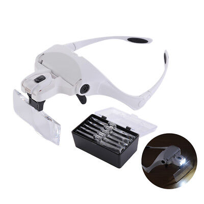Head Magnifier with 2 LED Lights Magnifying glass LED Lamp with 5 Lens UK Stock