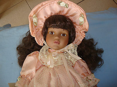 Porcelain Doll (Chantelle) 42cm. Pretty Dark Doll in Apricot Dress + Stand
