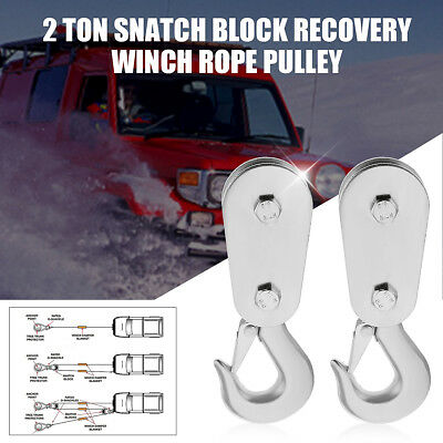 2 Ton Snatch Block Recovery Winch Rope Pulley Steel Hoist Heavy Duty 4x4 SOLOOP