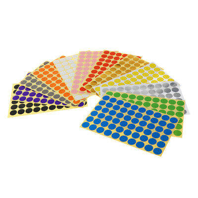 15mm Round dot Stickers Coloured Circles Circular Sticky Labels - 12 colours