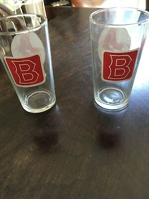 Vintage Red Sox Bar Glasses Pair Of Two 1950's