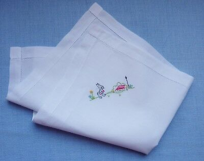Vintage Baby/Child White Cotton Pillowcase~Embroidered Bunny~