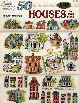 Book '50 Houses to Cross Stitch' - PB by Sam Hawkins As New