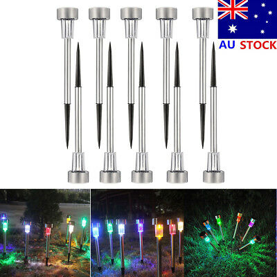 1/10pcs Outdoor Garden Stainless Steel LED Solar Landscape Path Lights Yard Lamp