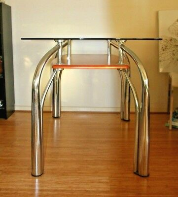 Retro Glass and chrome dining table with (  6 ) chairs  needs some TLC