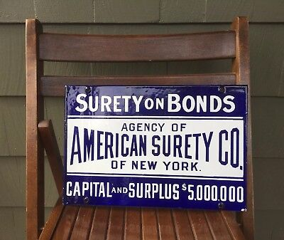 Antique c. 1900's American Surety Company of New York porcelain sign