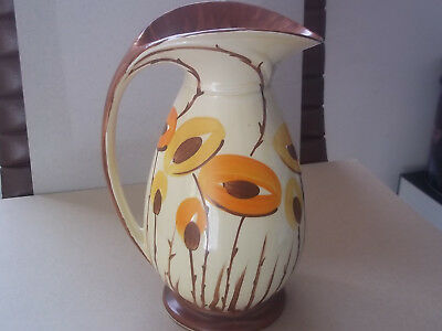 MYOTT Art Deco Large Chicken Neck Jug - Hand Painted with Large Stylised Flowers