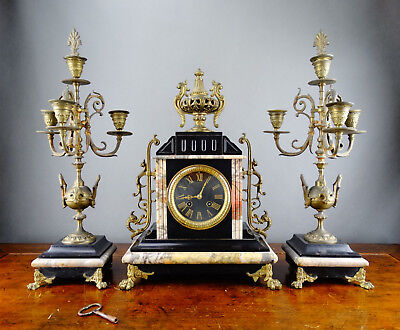 Antique French Black Slate & Marble Mantel Clock Garniture with Candelabra c1880