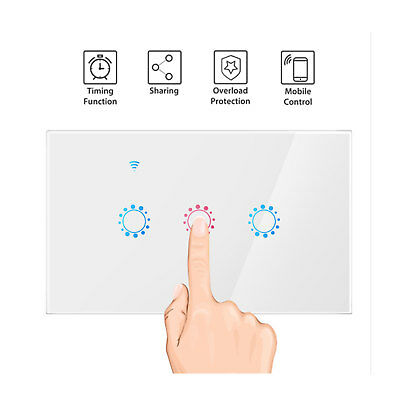 1/2/3 gang WIFI Smart Wall Light Remote Touch Switch For alexa Voice Control new