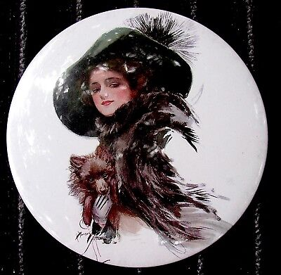 Vintage Large Harrison Fisher Fashion Pocket Mirror - Well Protected -Pomeranian