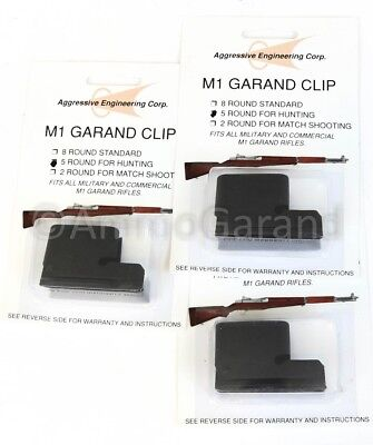 3-Pack 5 Round M1 Clips for Garand Hunting Shooting use New US 5 Rd Clip Part