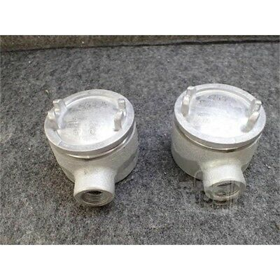 Lot of 2 Eaton GUA26 Crouse-Hinds Conduit Outlet Box w/Cover, 3/4""
