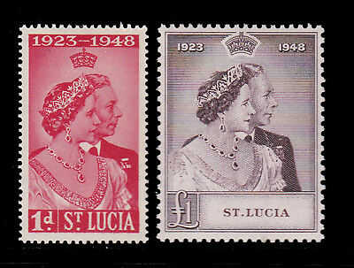St Lucia. Sg 144 & 145, 1948 Silver Wedding. Mounted Mint.