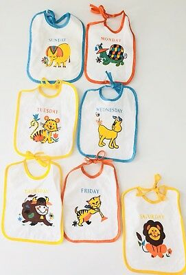 Vintage Baby Set of 7 Days of the Week Bibs Animals Infant Unused NOS Deadstock