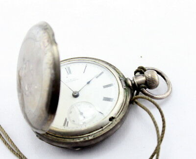 Coin Silver Antique Waltham Pocket Watch 18S 11J M1877 Full Hunter Case Nr #1731