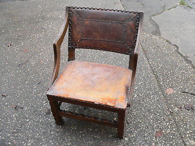 Antique Vintage Antique Oak and Leather Victorian NURSING CHAIR w Brass Studwork