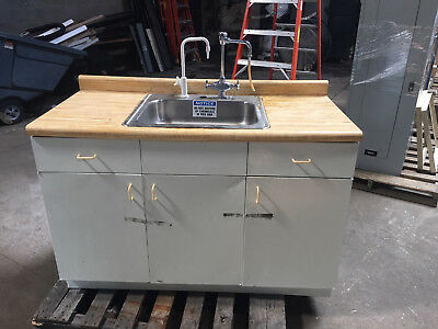"""Lab Sink with Stainless Steel Basin and Fixtures Dimensions 56""""x34""""x36"""" tall"""