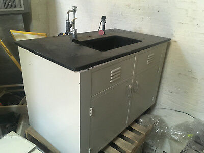 """Grey Metal Lab Sink with Epoxy Basin and Fixtures 54""""x31""""x36"""""""