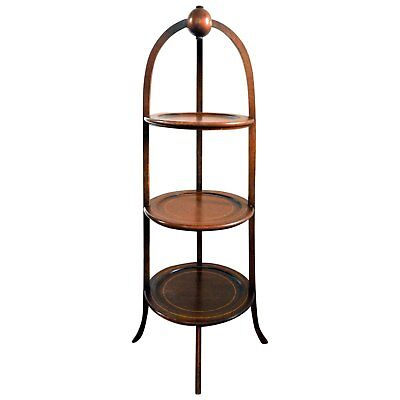 Biggs Three Tier Muffin Stand Mahogany Line Inlay