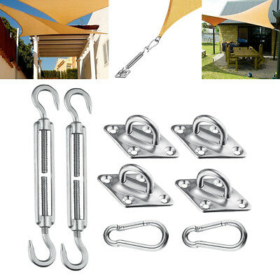 Stainless Steel Sun Sail Shade Hardware Kit Fixing Accessorie PadEye Turnbuckles