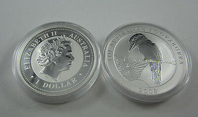 2008 Kookaburra 1oz one ounce silver coin in clean capsule. Scarcer type.