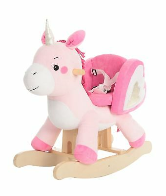 Labebe Baby Rocking Horse Wooden, Plush Rocking Horse Toy, Pink Unicorn Rocki...