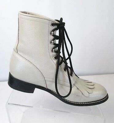 Justin Bone Leather Lace Roper Boots Girls Youth Sz 5 523Y Lace Up Ankle Cowboy
