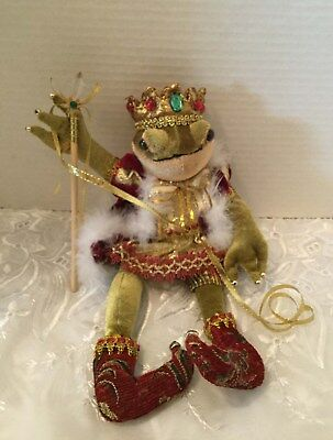 """Regal Frog Prince Plush Doll With Crown & Scepter 14"""""""