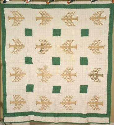 Vintage 20's Green Tree of Life Antique Patchwork Quilt ~Classic Design!